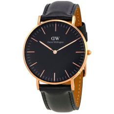 Daniel Wellington DW00100139 Jam Tangan Classic Black Sheffield Horloge 36MM Women Lady Leather Watch - Black Gold