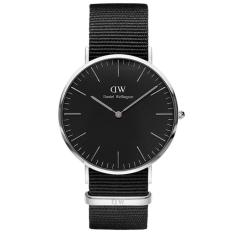 Daniel Wellington DW00100149 Jam Tangan Pria Wanita Classic Cornwall Black 40MM Men Women Genuine Nylon Watch - Black Silver