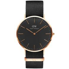 Daniel Wellington DW00100150 Jam Tangan Classic Black Cornwall Horloge 36MM Women Lady Nylon Strap Watch - Black Gold