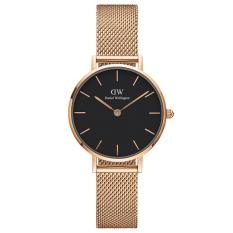 Daniel Wellington DW00100217 Jam Tangan Wanita 28MM Classic Petite Melrose Black Women Stainless Steel Watch - Rose Gold Black