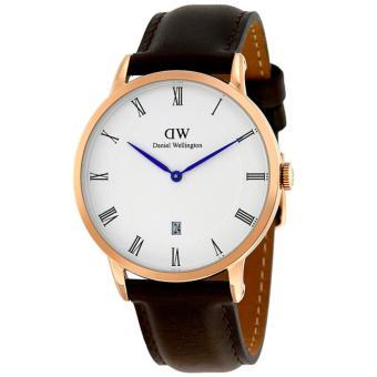 Daniel Wellington Jam Tanga Pria Wanita Strap Kulit 1103DW Dapper Rose Gold Dial Men Women Leather Watch - Brown