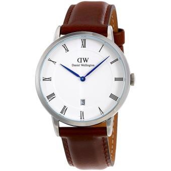 Daniel Wellington Jam Tanga Pria Wanita Strap Kulit 1120DW Dapper St Mawes Silver Dial Men Women Leather Watch - Brown
