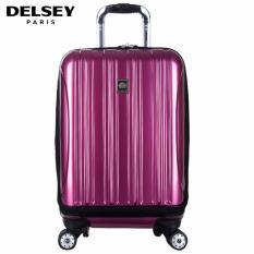 Delsey Helium Aero Tas Koper 55cm 4Wheels Cabin Hard Case with Front Storage Trolley - Ungu