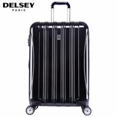 Delsey Helium Aero Tas Koper 81cm 4Wheels Glossy Large Hard Case Trolley - Hitam
