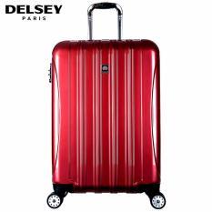 Delsey Helium Aero Tas Koper Travel 81cm 4Wheels Glossy Large Hard Case Trolley - Merah