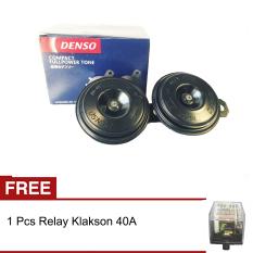 Denso Klakson Disc 12v Full Power Tone Tin Tin tin + Gratis Relay Klakson 40A