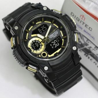 Digitec Jam Tangan Sport - Olahraga Renang - Dual Time DG3042T - Black Gold