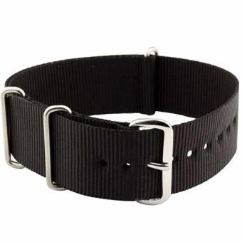 DJ 22Mm Black Nato Strap Nylon Military Watch Band Strapwatchband Nato-019 - intl