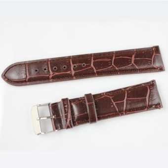 DJ Easybuy Durable High-Grade Pu Leather Womens Mens Watch Hand Strap16mm-20Mm Brown - intl