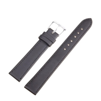 DJ High Quality Store New Women Men High Quality Unisex Leather Blackbrown Watch Strap Band 10Mm - intl