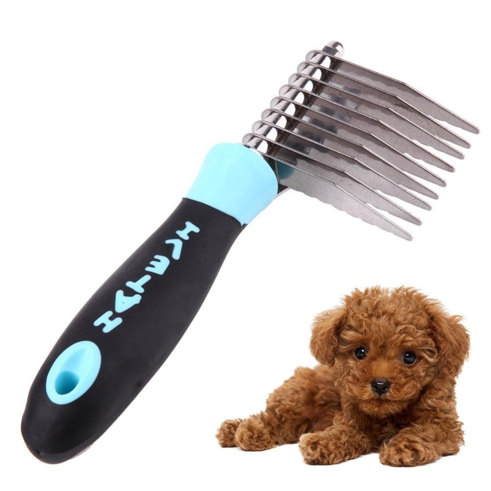 Dog Bones Pattern Puppy Grooming Comb Open Knot Removal Hair Comb(Blue) - intl