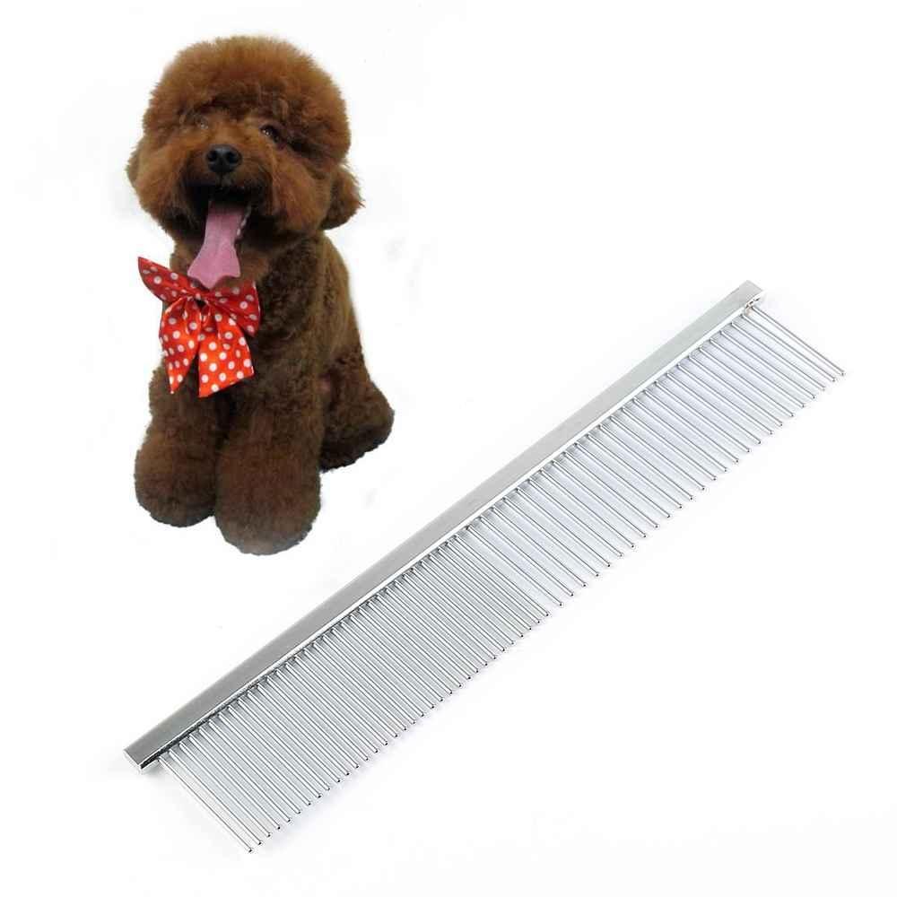 Double-teeth Stainless Steel Animal Pet Hair Comb Hair Grooming Tools Straight - intl