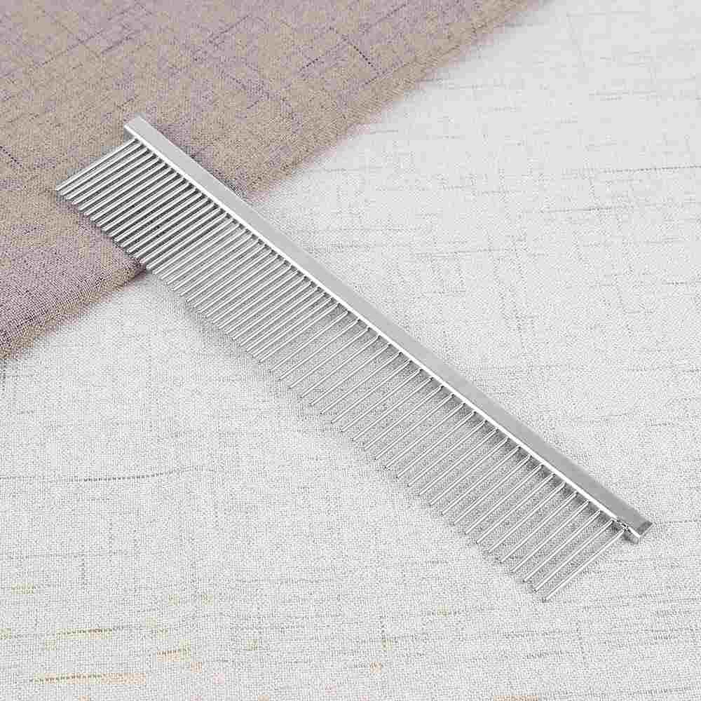 Double-teeth Stainless Steel Animal Pet Hair Comb Hair GroomingTools Straight - intl