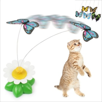 Elife Funny Electric Butterfly Flying Around The Flower Pet Cat Toys Cat Teasing Toy - intl