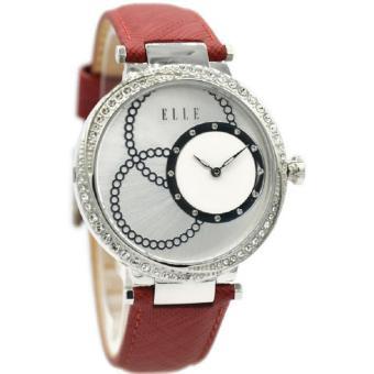 Elle EL20376S04C Jam Tangan Wanita Leather Strap Merah Silver