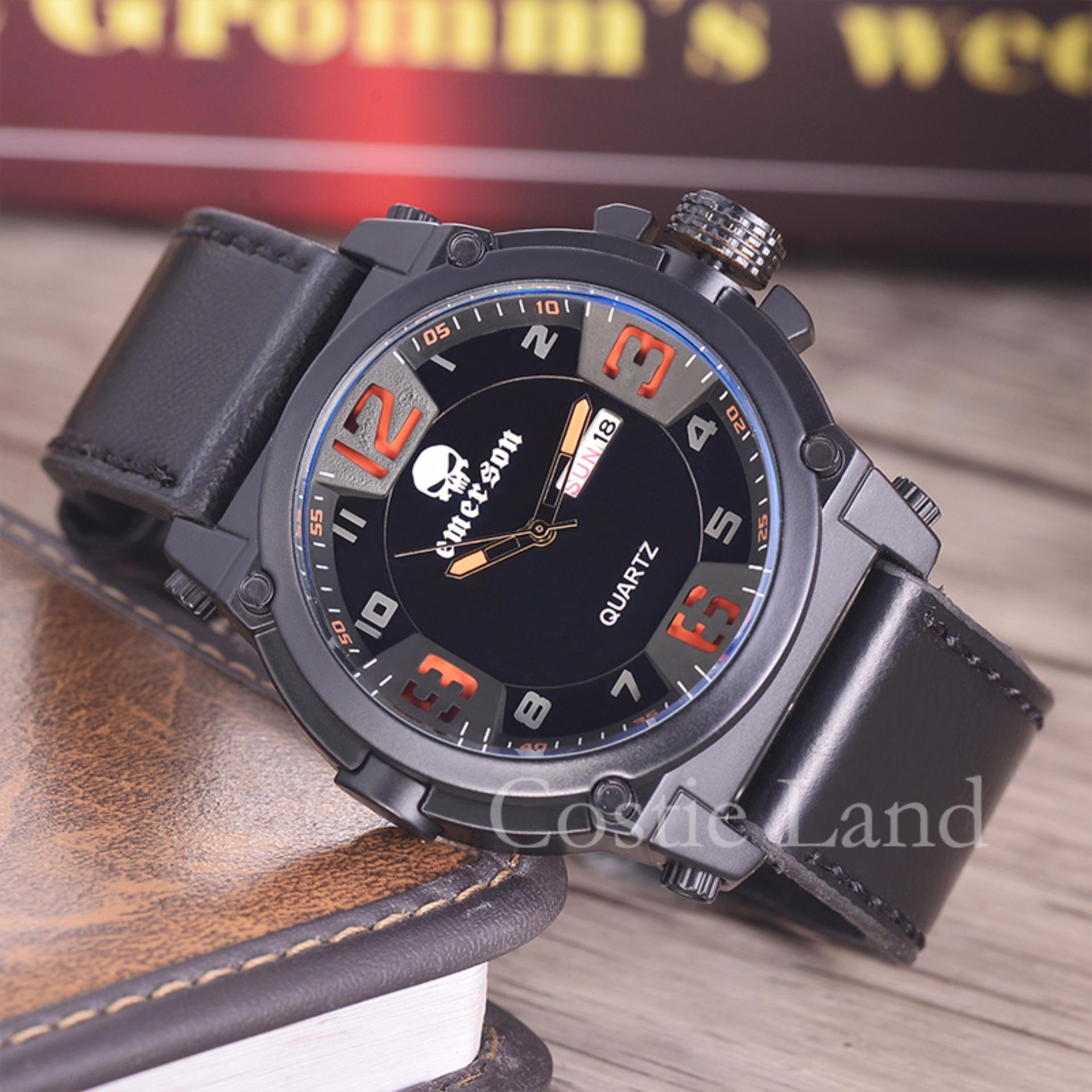 Emerson - Jam Tangan Pria - Body Black - Black/Orange Dial .