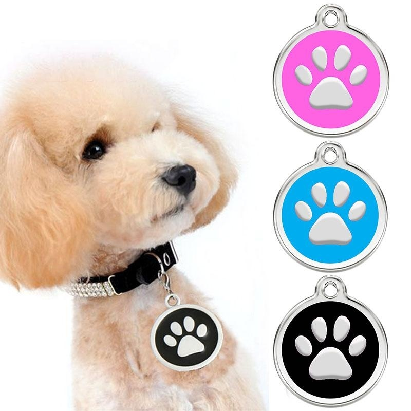 Engraving Pawprint Dog Collar ID Pedant Pet Jewelery Pet Tags DogTags Custom - intl