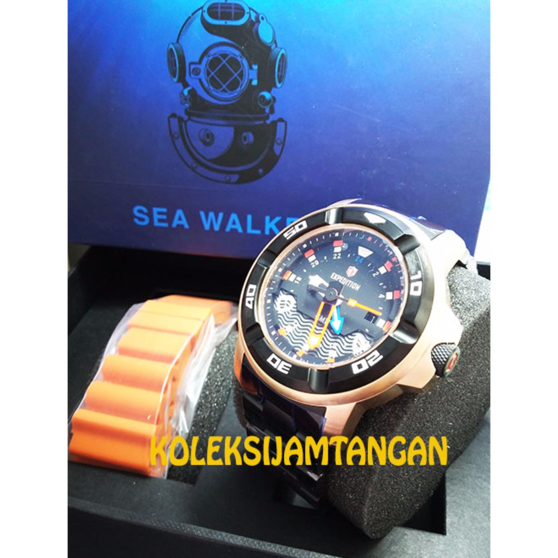 Bandingkan Simpan Expedition 6711 Sea Walker Original Rose Gold E6318m Dark Brown Jam Tangan Pria