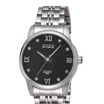 Extendable Men's Watch Stainless Steel Calendar 8605 Black Dial
