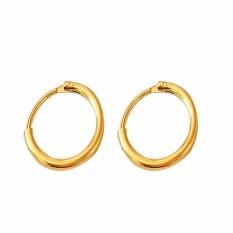 Fancyqube Fashion Star dengan Kepribadian Lingkaran Anting, Baik Pria Maupun Wanita Bisa Memakai Anting-Anting Perhiasan Grosir Emas Silver Earrings Gold-13MM-Intl