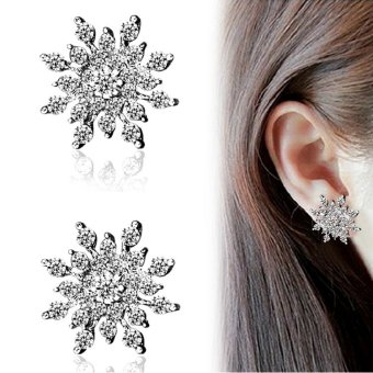 Fantastic Flower Fashion Jewelry Ladies Crystal Snowflake Statement Stud Earrings For Women Earring -Silver - intl
