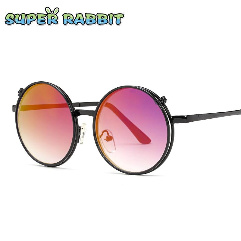 Fashion Anak Retro Sunglasses Kepribadian Bulat Frame Kacamata Menyenangkan  Double Lens Flip Kacamata-C6 Hitam e61a229fbf