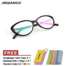 Fashion Vintage Retro mata kucing kacamata hitam bingkai kacamata Frame plastik polos untuk miopia wanita kacamata