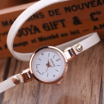 Fashion Women Leather Stainless Steel Bracelet Quartz Dress Wrist Watch White - intl