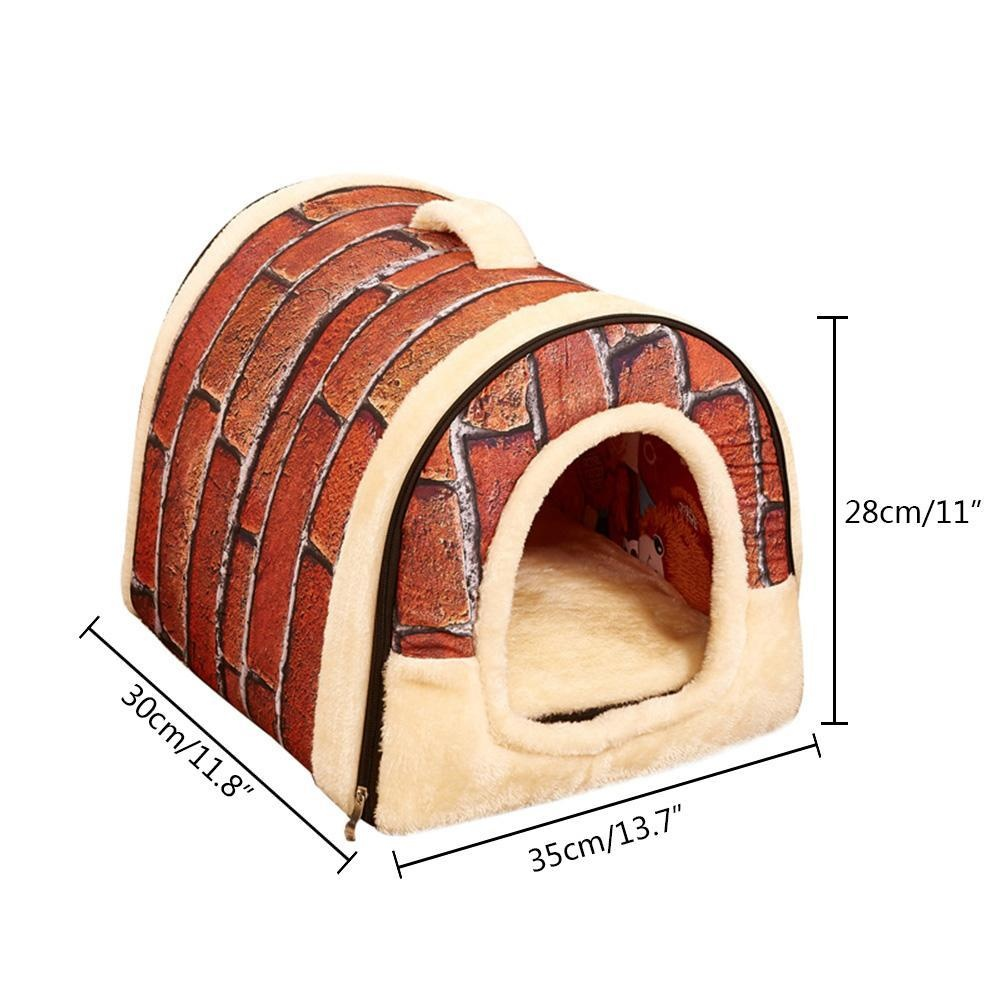foonovom Dog House Portable Brick Warm And Cozy For Small Pets -intl
