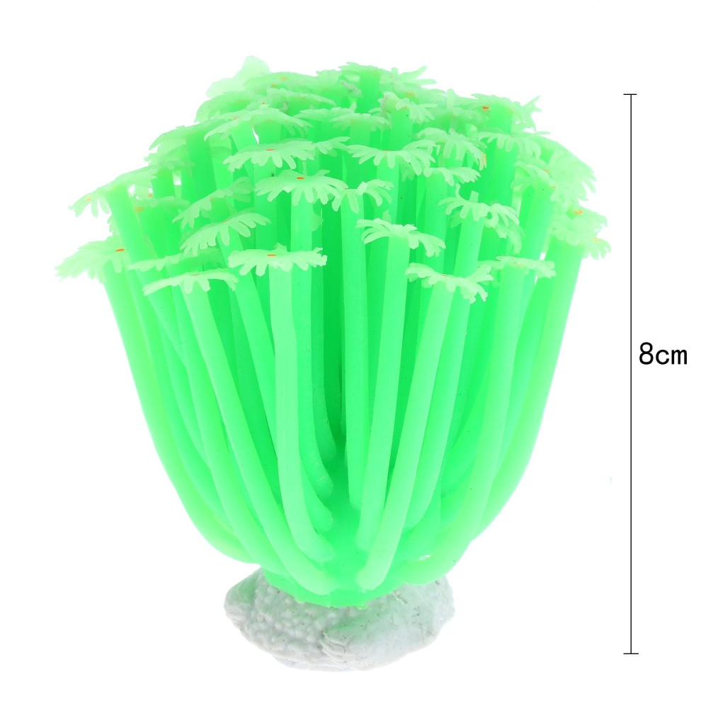 ... foorvof Artificial Sea Anemone Coral Plant For Aquarium DecorationAquatic Arts Safe Silicion Ornament,Green ...