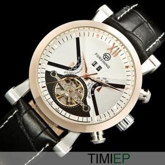 FORSINING Fashion Men Luxury Brand Flywheel Leather Strap WatchAutomatic Mechanical Wrist Watches(White Gold) - intl