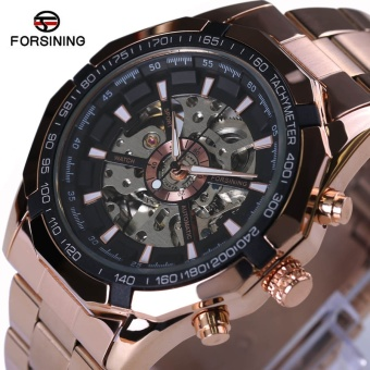 Forsining Mens Watches Top Brand Luxury Full Golden Men Automatic Skeleton Watch Mens Sport Watch Designer Fashion Casual Clock - intl