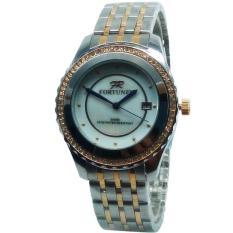 Fortuner FR5433KHKMLG Date Permata Jam Tangan Wanita Stainless Steel (Silver-Gold)