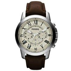 Fossil Chronograph FS4735 Jam Tangan Pria Strap Leather Coklat Silver