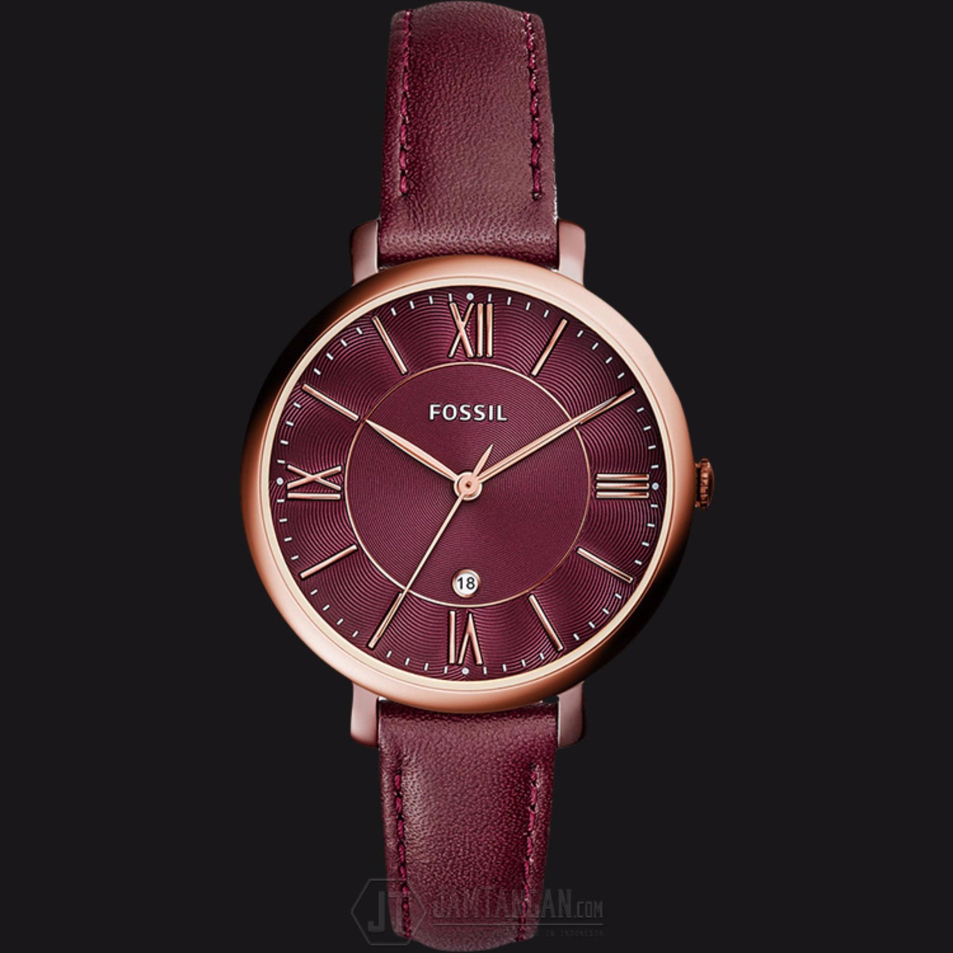 Harga Terendah Fossil Es4099 Jacqueline Matching Dial Wine Leather Fs5176 Strap Ladies Watch Jam Tangan Wanita