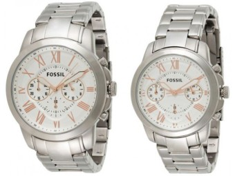 Fossil His & Hers White Dial Stainless Steel Band Couple Watch Set - FS 5187SET