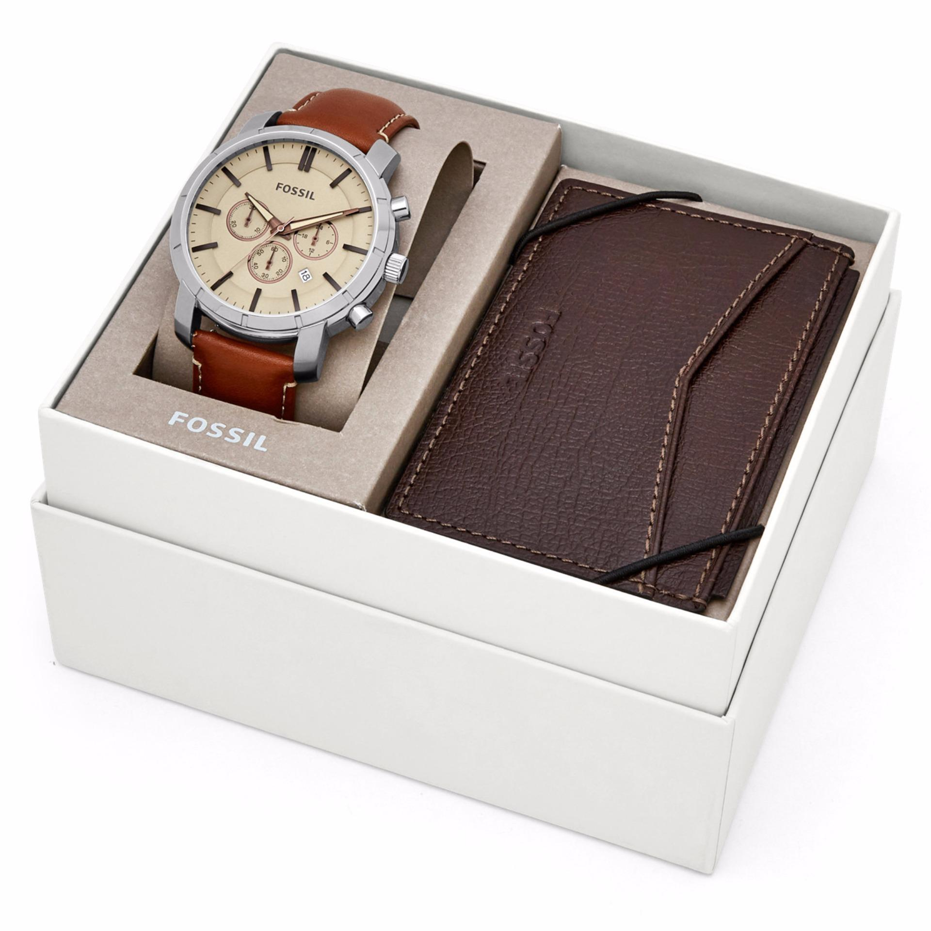 ... Fossil Lance Chronograph Brown Leather Watch and Card Case Gift Set BQ