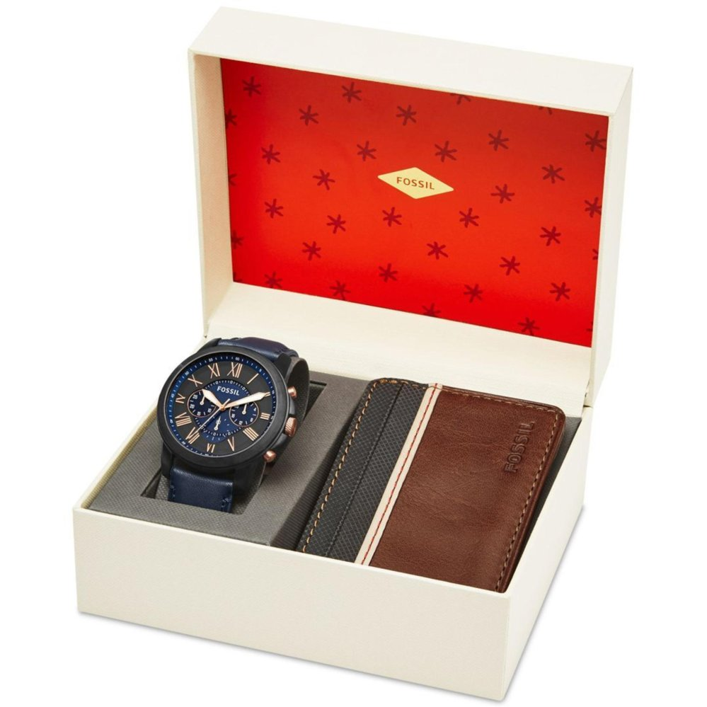 Fossil Jam Tangan Pria Ch2972 Del Rey Chronograph Nate Chronography Jr 1424 Brown Strap Leather Mens Grant Blue Watch Wallet Set Fs 5252set