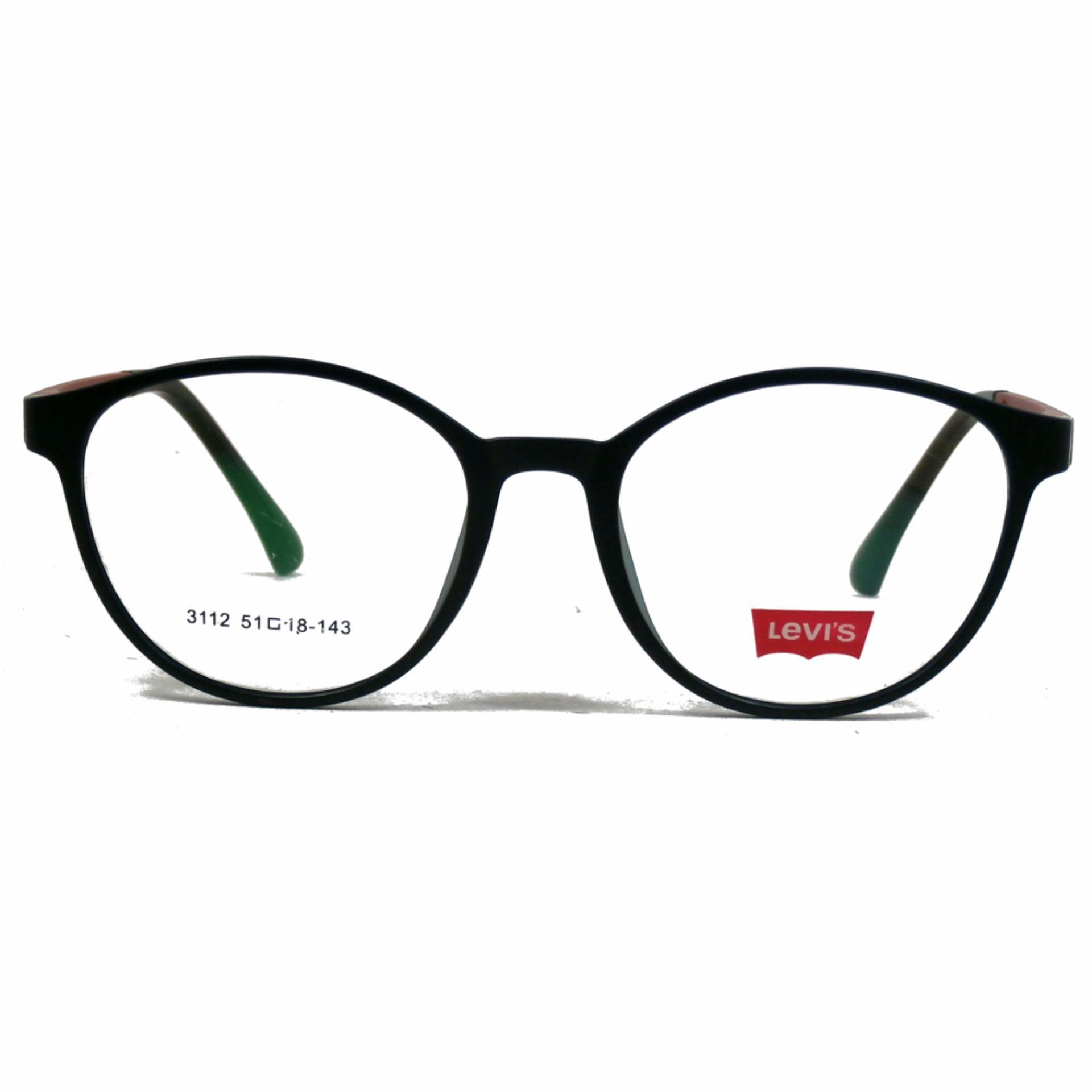 Frame Kacamata Wanita Bulat Levis 3112 Hitam Bisa Dipasang Lensa Minus Di Optik .