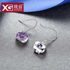 ... Fun Kota Jepang dan Korea Fashion Style temperamen sintetis ungu kristal telinga gesper perak anting