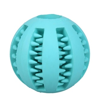 Funny Pet Chew Toy Rubber Balls Tooth Cleaning Balls (Light Blue) - intl