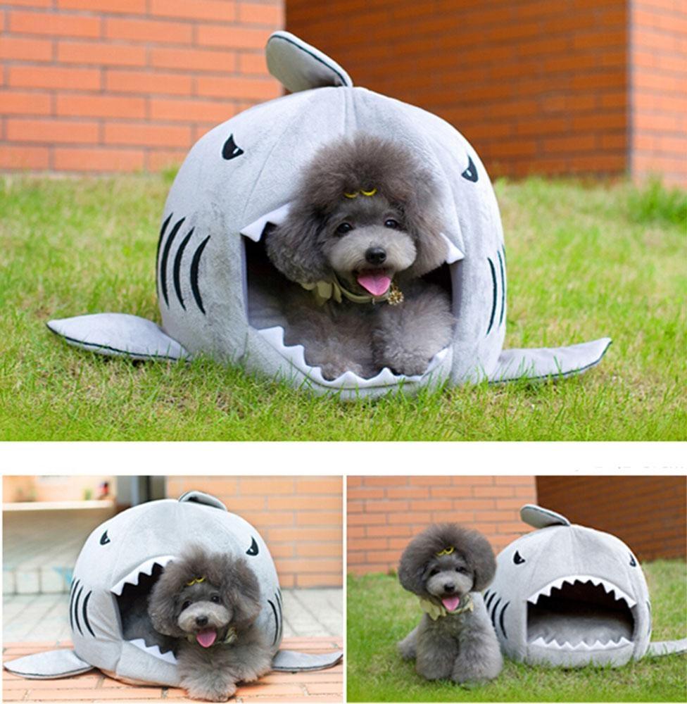 gaoshang Shark Warm Indoor Kitten Dog Cat Sofa Bed Puppy Pet HouseWith Mat (Gray,S) - intl