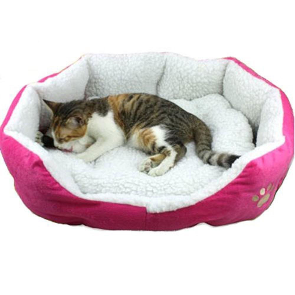 gasfun Puppy Kitten Nest Berber Fleece Sofa Pet Bed LoungeSleeper(L, Roseo) - intl