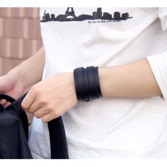 Gelang Pria Gelang Wanita Gelang Wrap - New Fashion Double Belt Leather Wide Bracelet for Men Buckle Vintage - Wrap X2 - Hitam - 4