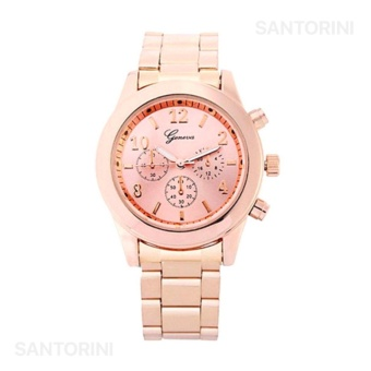 GENEVA Jam Tangan Wanita Analog Fashion Casual Women Strap Stainless Steel Wrist Quartz Watch - Rose Gold