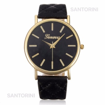 Geneva Jam Tangan Wanita Fashion Faux Leather Quartz Analog Women Lady Watch - BLACK