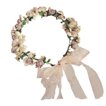Girls Adjustable Plastic Rose Flower Floral Crown Garland HeadbandWedding Bride Photograph Garland Headband - intl
