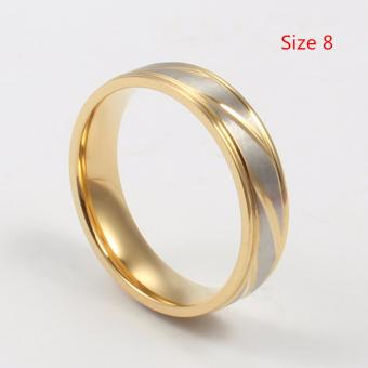 Gold Plated Titanium Steel Ring Couple Ring Wedding Ring Jewlery Gift - intl