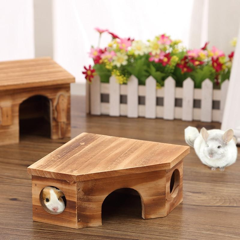 Gracefulvara natural wooden small pet hamster guinea pig house summer hedgehog house chinchilla cage nest hamster chew toy accessory - intl