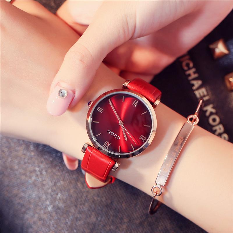 GUOU Korea Fashion Style Waterproof besar jam Shi Ying jam kasual perempuan Watch .